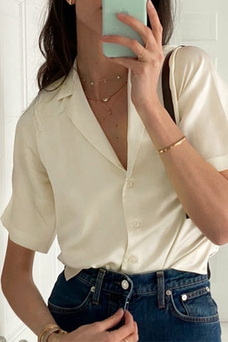 Casual Button Down Satin Shirt