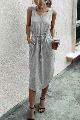 Casual Drawstring Tank Dress With Pocket