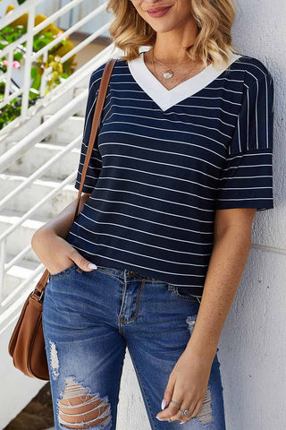 Casual Striped V-neck T-shirt
