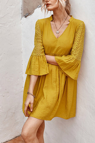 Casual V-neck Lace Panel Tunic Dress