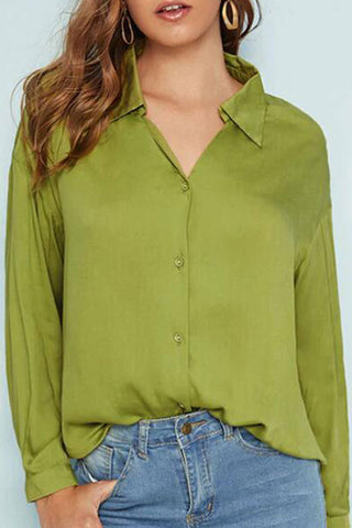 Casual Green V-neck Shirt