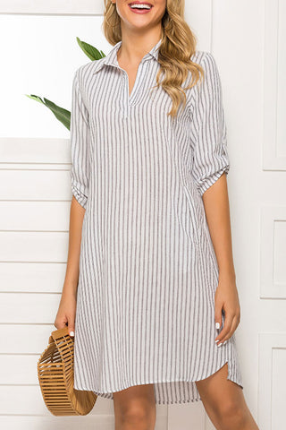 Casual Striped Pockets Shirt Dress