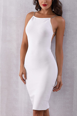 Chain Shoulder Strap Backless Bandage Dress