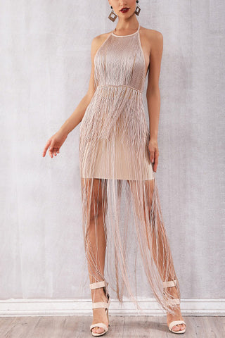 Champagne Backless Tassel Overlay Halter Party Dress