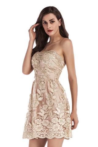 Champagne Embroidered Strapless Backless Prom Dress