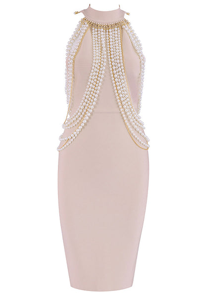 Champagne High Neck Beaded Bandage Prom Dress