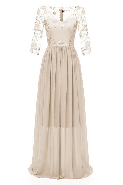 Champagne Long A-line Long Sleeves Prom Dress With Appliques