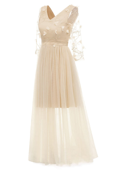Champagne Long V-neck Applique A-line Prom Dress With Sleeves