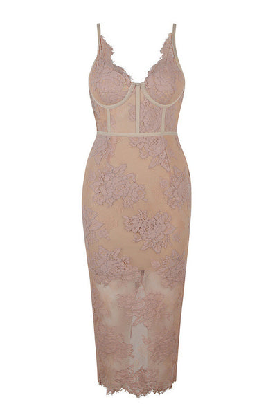 Champagne Sexy Lace Spaghetti Straps Bodycon Party Dress