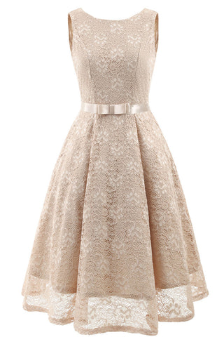 Champagne Sleeveless A-line Princess Prom Dress
