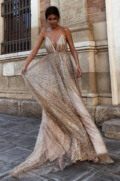 Champagne Sparkly Sequin Plunging Deep V-neck Prom Dress