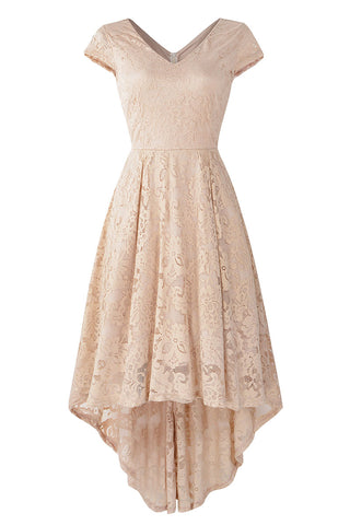 Champagne V Neck Cap Sleeve Lace Prom Dress