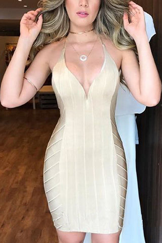 Champagne Backless Spaghetti Straps Bandage Party Dress