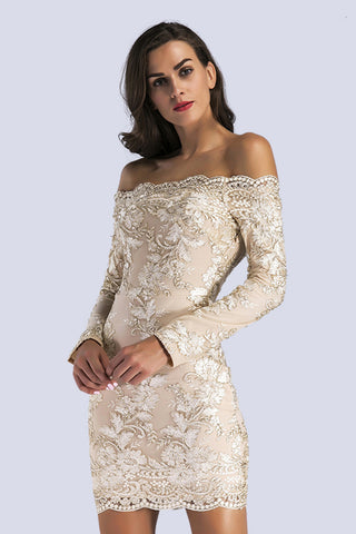 Champagne Off-the-shoulder  Embroidered Long-sleeved Bodycon Dress