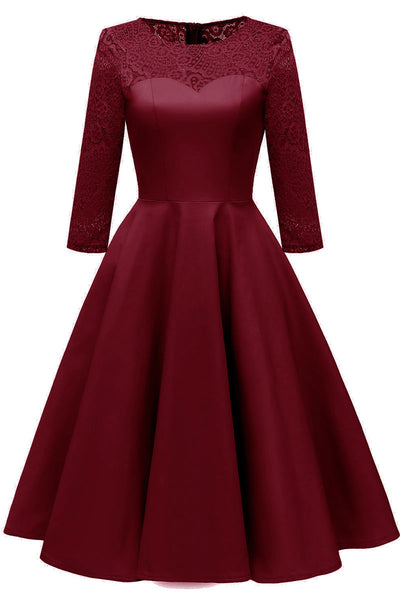 Chic Burgundy Lace Homecoming Dress With Long Sleeves