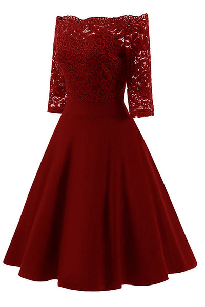 Chic Burgundy Lace Off-the-shoulder Homecoming Dress