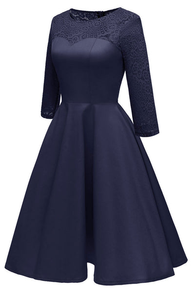 Chic Dark Navy Lace Homecoming Dress With Long Sleeves