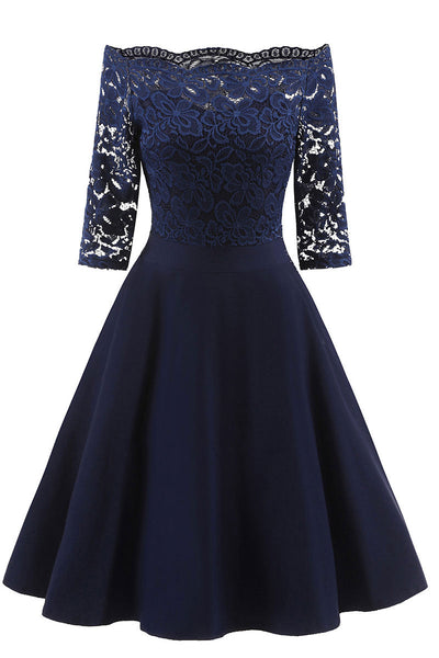 Chic Dark Navy Lace Off-the-shoulder Homecoming Dress
