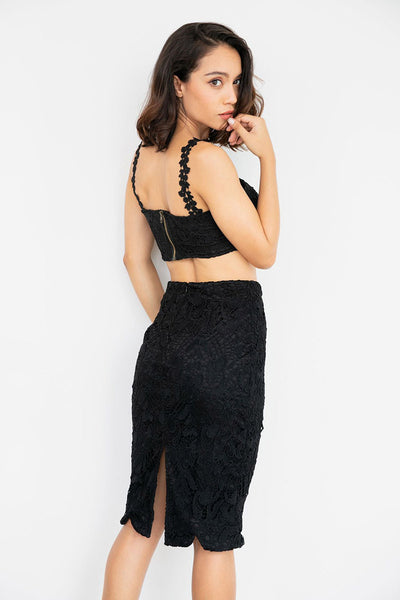 Chic Lace Backless Empire zweiteilige Sets