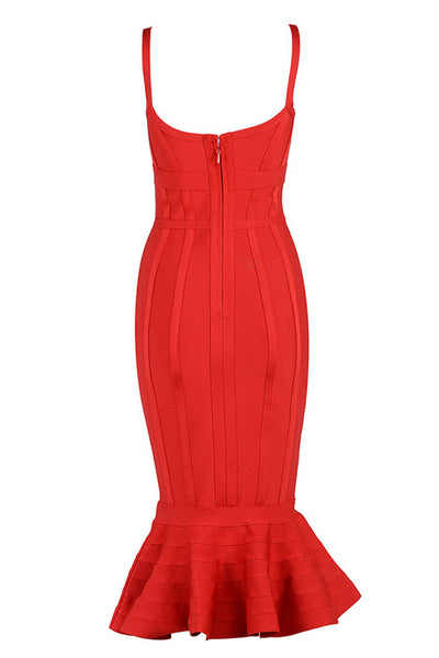 Chic Red Mermaid Party Cocktail Verbandkleid