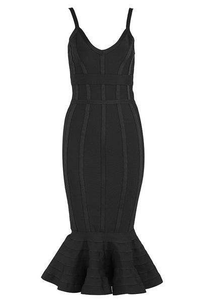 Chic Black Mermaid Party Cocktail Verbandkleid