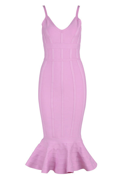 Chic Pink Mermaid Party Cocktail Verbandkleid