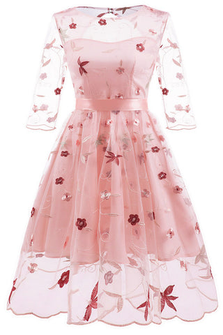 Chic Pink Embroidered A-line Homecoming Dress With Long Sleeves