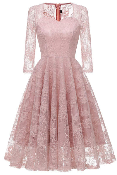 Chic Pink Lace A-line Prom Dress With Long Sleeves - Mislish