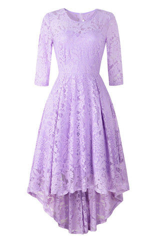Chic Purple Lace High Low Prom Dress