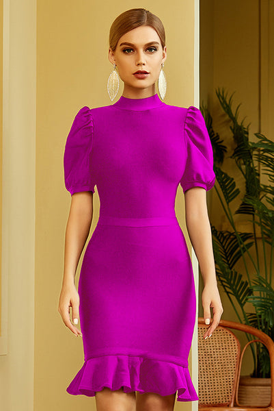 Schickes Kurzarm-Partykleid Homecoming Bandage Dress