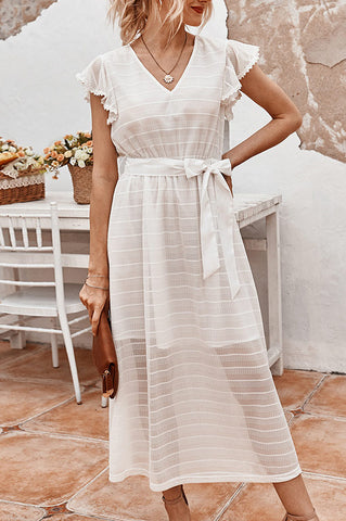 Chic V-neck Lace Trim Tie Front Long Dress