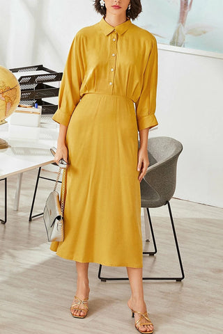 Chic Yellow Buttoned Midi Shirt Dress