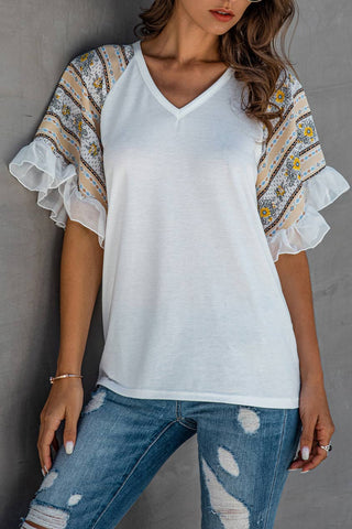 Chiffon Patchwork Floral Ruffle Sleeve T-shirt