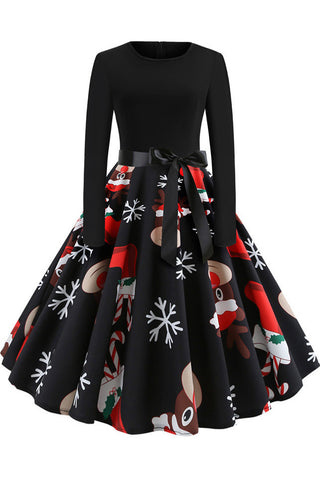 Christmas Long-sleeve Retro Printed Dress