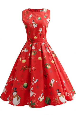 Christmas Print Sleeveless Belted Dress