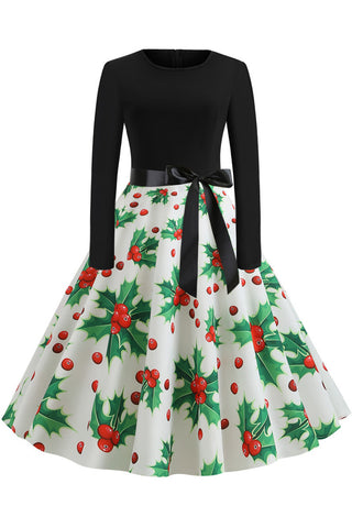 Christmas Printed Belt A-line Vintage Dress