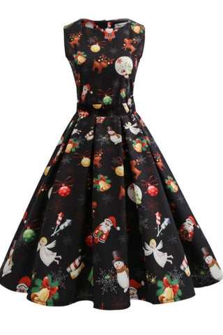 Christmas Retro Printed Boatneck Dress