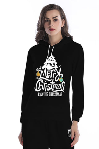 Christmas Tree Print Hooded Drawstring Sweatshirt