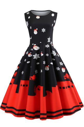 Christmas Vintage Printed Sleeveless Dress