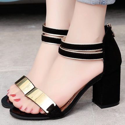 Chunky Heel Ankle Strap Open-toe Sandals With Zipper