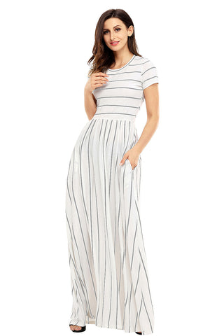 Classic Striped High Waist Dress With Pockets