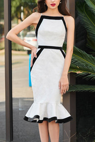 Color Block Sleeveless Mermaid Bandage Dress