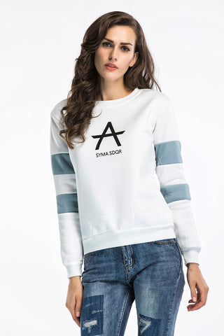 Color-block Letter Print Round Neck Sweatshirt