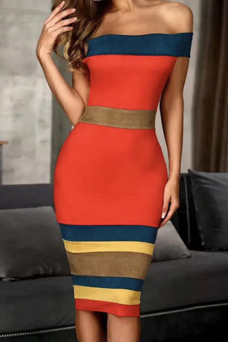 Color-block Off Shoulder Striped Bandage Dress