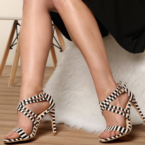 Color Block Crisscross Platform Sandals