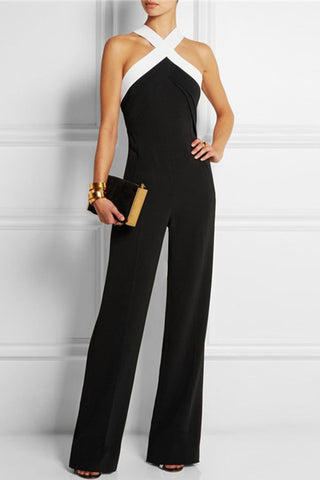 Criss-cross Halter Sleeveless Jumpsuit