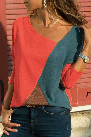 Color Block Geometric Long-sleeve T-shirt