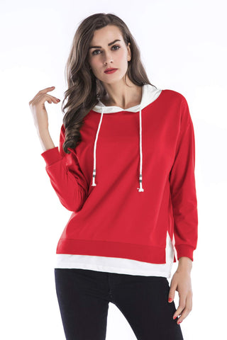 Color Block Hooded Letter Print Back Sweatshirt