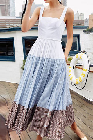 Colorblock Sleeveless Vacation Pleated Dress