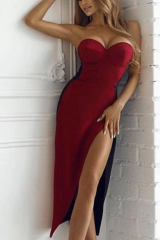 Colorblock Strapless Slit Bandage Prom Dress